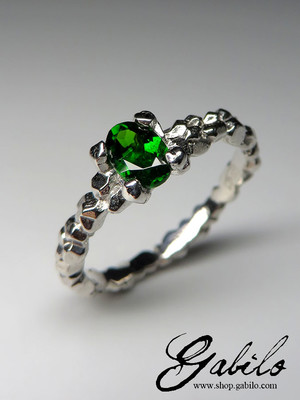 Made to order: Chrome Diopside Silver Ring with Gem Report MSU