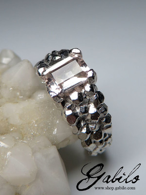 Morganite silver ring with gem report MSU