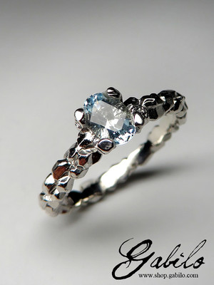 Made to order: Aquamarine silver ring with Gem Report MSU