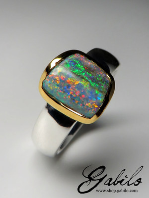 Made to order: Black opal ring