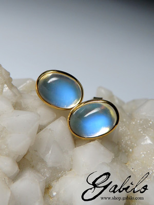 Moonstone gold studs with gem report MSU