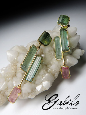 Tourmaline crystals gold earrings