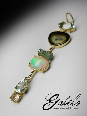 Gems gold pendant