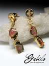 Tourmaline gold earrings with diamonds