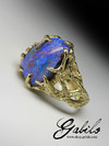 Men's boulder opal 14k gold ring