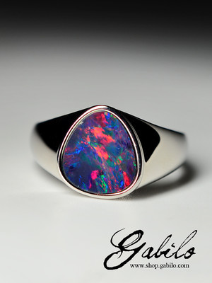 Doublet opal silver ring
