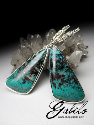 Chrysocolla silver earrings
