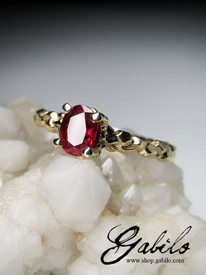 Ruby gold ring with gem report