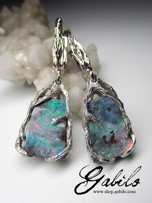 Boulder opal silver earrings