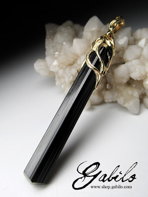 Black tourmaline gold pendant