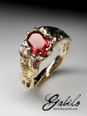 Fire opal 14k gold ring