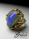 Gorgeous big Jelly neon opal 14k gold ring