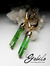 Made to order: Green Tourmaline Crystals Gold Earrings