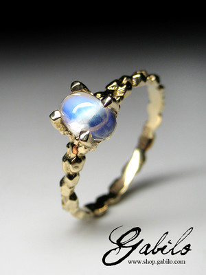 Moonstone gold ring with Gem Testing Report