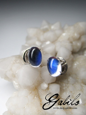 Moonstone gold earrings with Gem Testing Report