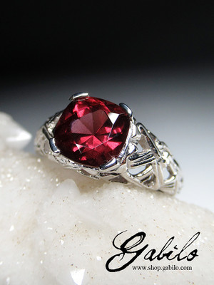 Almandine garnet silver ring with Gem Testing Report