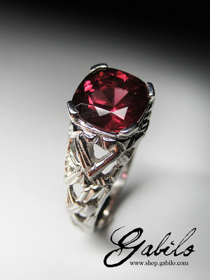 Men's almandine garnet silver ring with Gem Testing Report