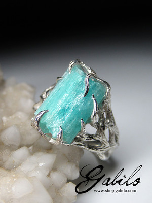Tourmaline Paraiba crystal ring