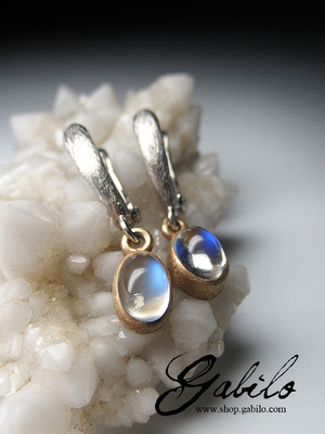 Moonstone silver earrings with Gem Testing Report