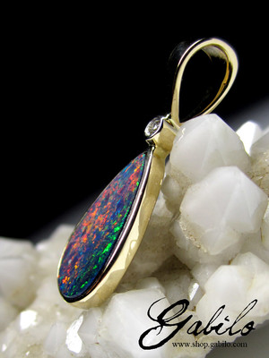 Doublet Opal and Diamond Gold Pendant