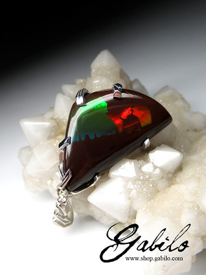 Chocolate opal silver pendant