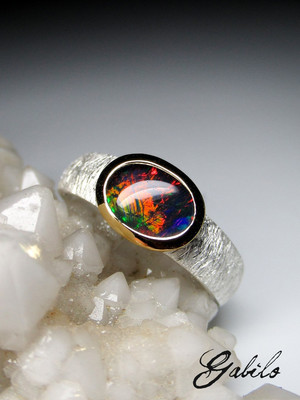 Natural triplet opal sterling silver ring