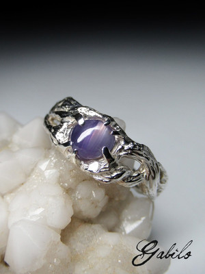 Purple star sapphire silver ring
