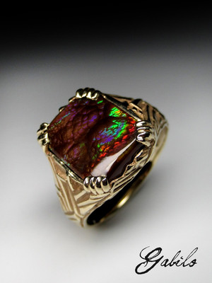 Men's fire agate gold ring