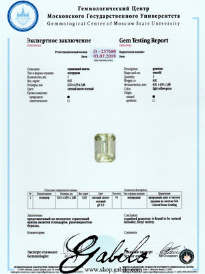 Heliodor silver ring with Gem Testing Report