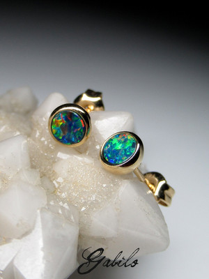 Made to order: Doublet opal 14k gold earrings