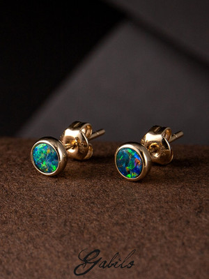 Doublet opal 14k gold earrings
