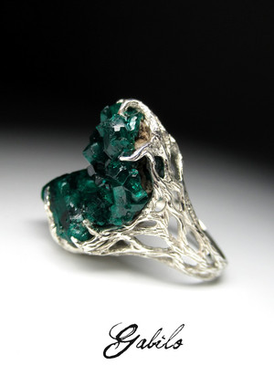 Made to order: Dioptase silver ring