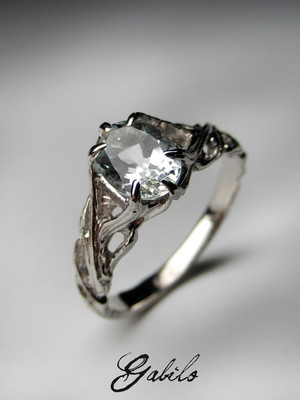 Aquamarine silver ring