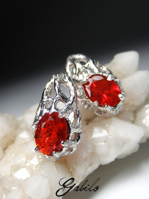 Fire opal silver earrings