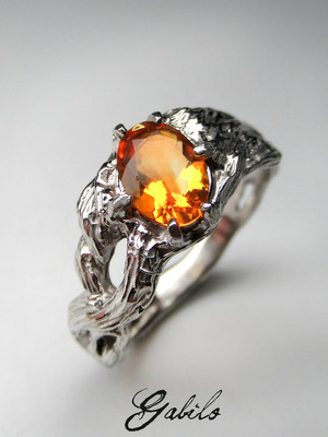 Made to order: Fire opal silver ring