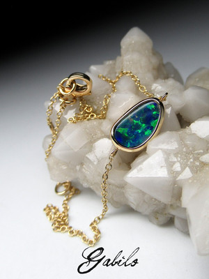Made to order: Doublet opal gold bracelet