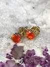 Fire opal gold earrings