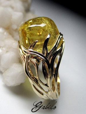 Heliodor gold ring