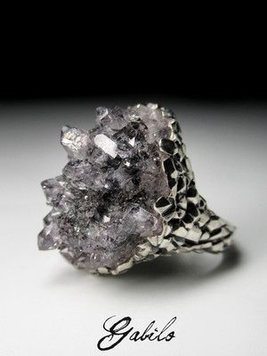 Quartz crystal silver ring