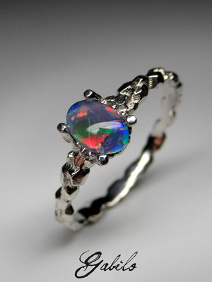 Made to order: Triplet opal silver ring