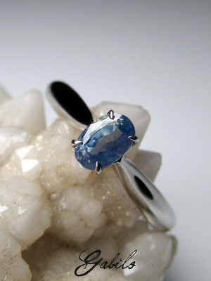 Pastel blue sapphire gold ring