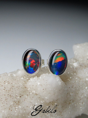 Triplet opal silver earrings