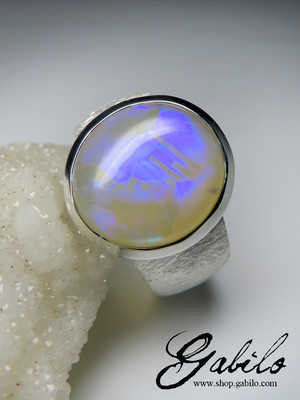 Made to order: Opal Neon Electric Silver Ring