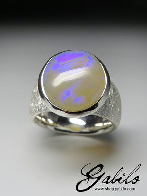 Opal Neon Electric Silver Ring