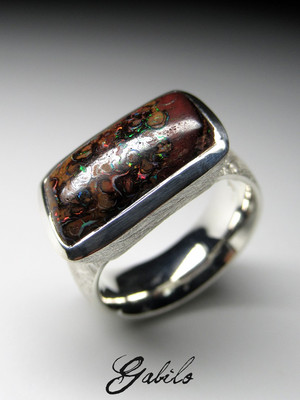 Men's koroit opal silver ring