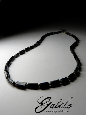 Beads from black tourmaline