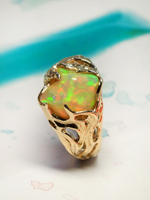 Ethiopian opal gold ring
