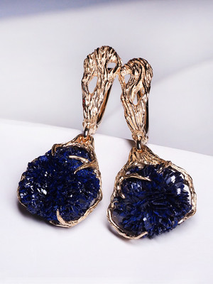 Azurite gold earrings