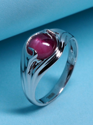 Bi-colored ruby ring in white gold