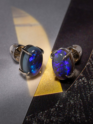 Black opal 14k gold earrings